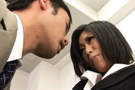 Yuuka tsubasa. Yuuka Tsubasa Asian in office suit has hot cheeks squeezed by guy